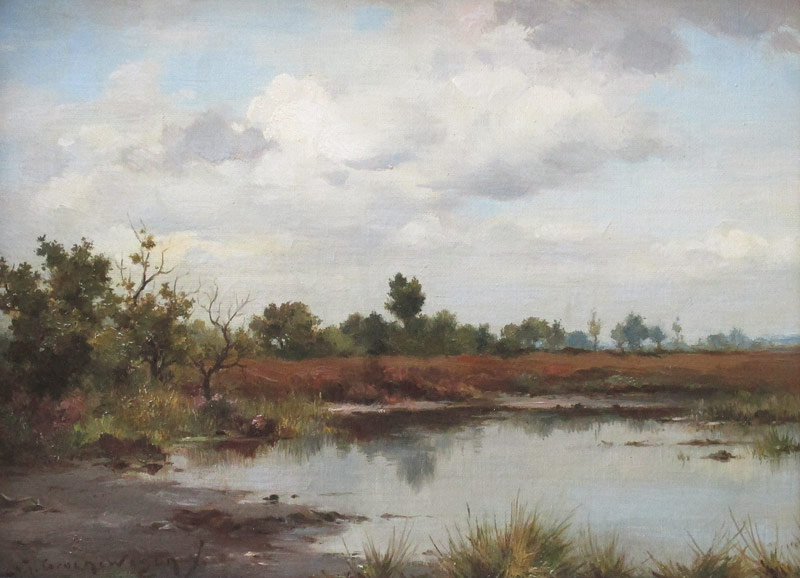 Landschap, olieverf op linnen, afmeting 25x35cm doekmaat