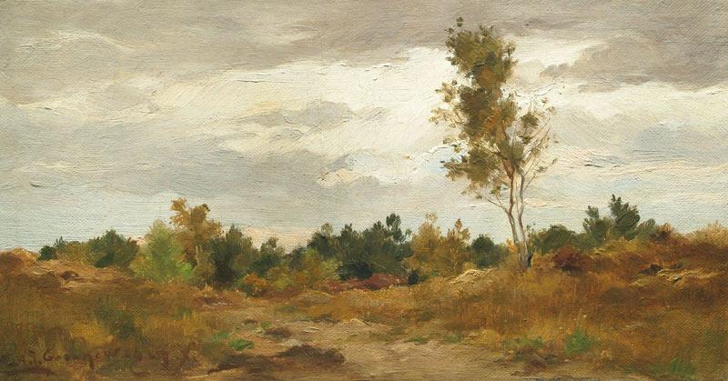 Landschap, olieverf op linnen bevestigd op paneel, afmeting 17x33cm paneelmaat