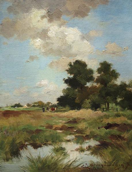 Landscape, Groenewegen, A.J. Groenewegen, Adri. Joh. Groenewegen was born in 1874 in Rotterdam and he died in 1963 in Horn.