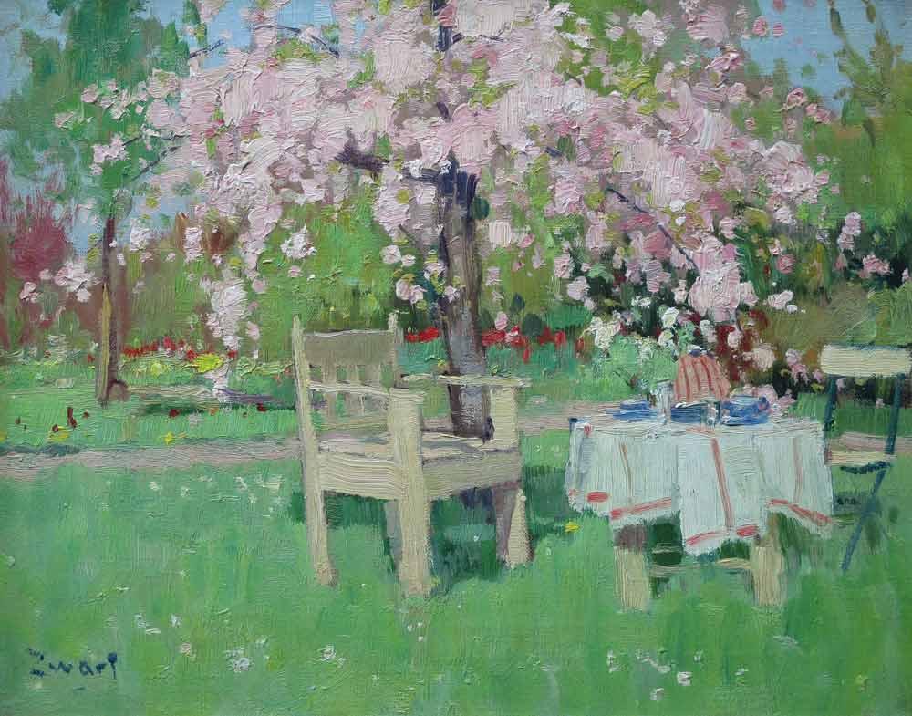 A.J. Zwart, bloesem in de tuin, 40x50cm doekmaat