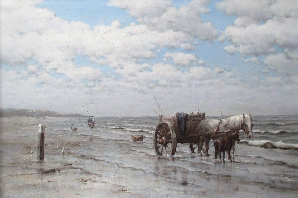 Schelpenvisser bij Scheveningen, Buikema, Albert Buikema is geboren op 2 maart 1949 te Waddinxveen en op 45 jarige leeftijd overleden op 11 januari 1994. Hij was leerling van de Academies van Rotterdam en utrecht. Ook kreeg hij lessen van H.J. Wijngaard. Hij schilderde en tekende Kermissen, stadsgezichten, landschappen en ballerina's. Na zijn vestiging in Gorinchem schilderde hij steeds meer landschappen in de Betuwe. Hij had een eigen manier van werken, die je duidelijk terugvindt in zijn schilderijen. In het begin waren zijn werken nogal donker van aard, maar later werd zijn werk zeer luchtig en blond van kleur. Zijn werk is over de gehele wereld verkocht en Albert Buikema blijft nog steeds een zeer gewaardeerd kunstenaar door het bijzondere euvre die hij nagelaten heeft.