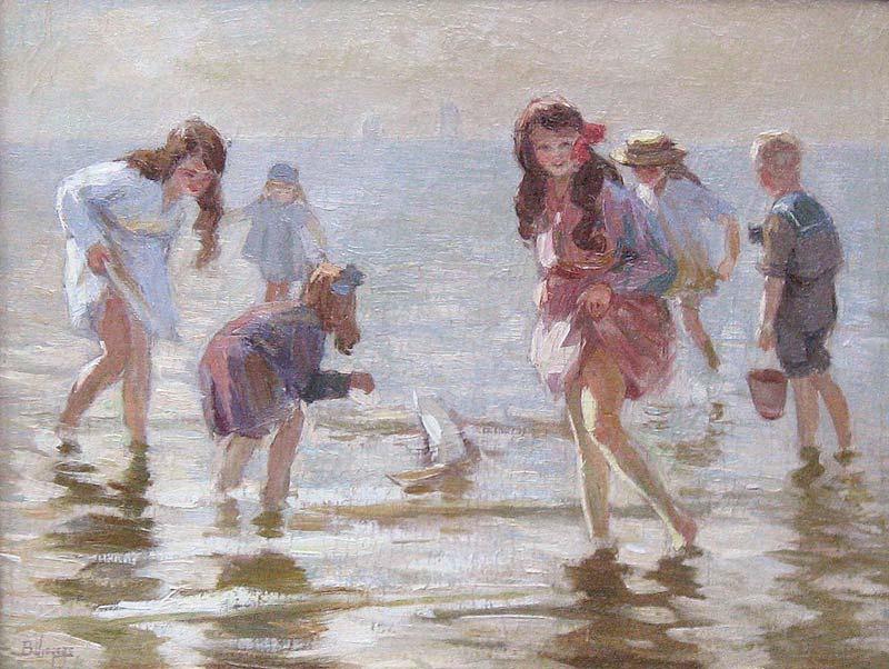 Strandgezicht met spelende kinderen (B. Viegers)