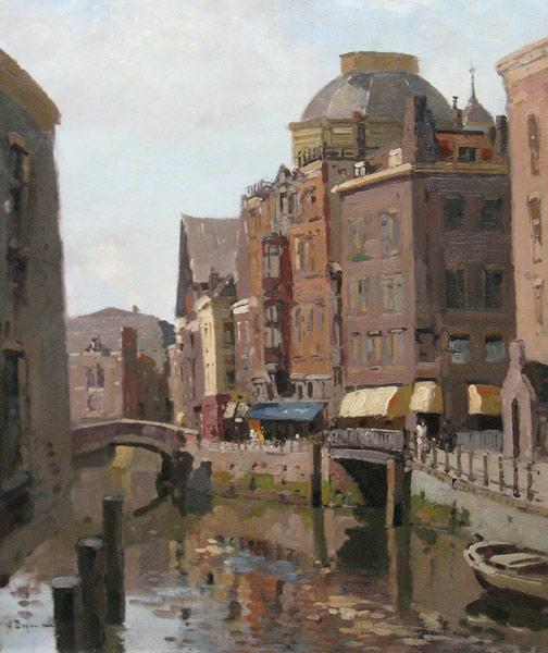 Stadsgezicht Oud-Rotterdam, Het Steiger met op de achtergrond de koepel van de Sint-Dominicuskerk, incl. bladgouden lijst