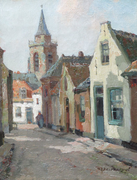 Dorpstraatje Scheveningen, olieverf op linnen, afmeting 18x24cm doekmaat