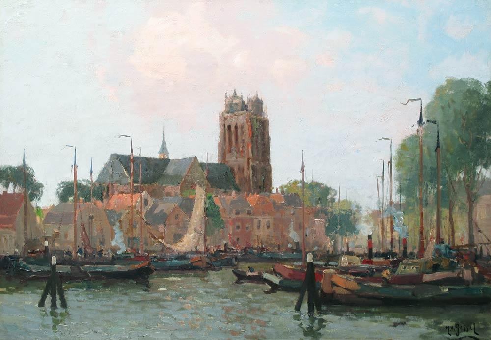 Binnenhaven van Dordrecht, olieverf op linnen, afmeting 35x50cm doekmaat