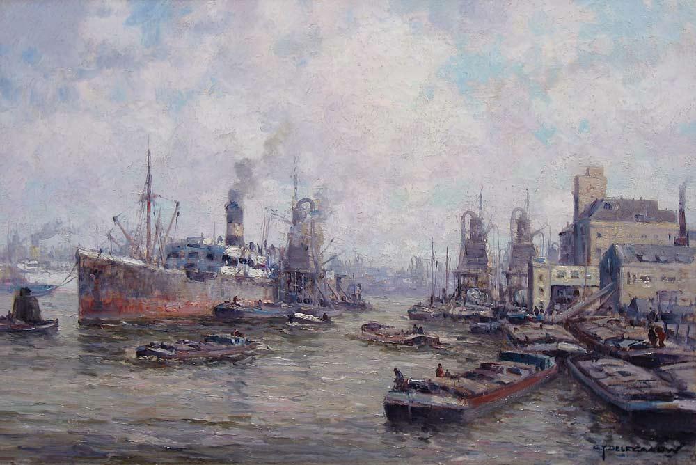 Havengezicht Rotterdam, olieverf op linnen, afmeting 40x60cm doekmaat