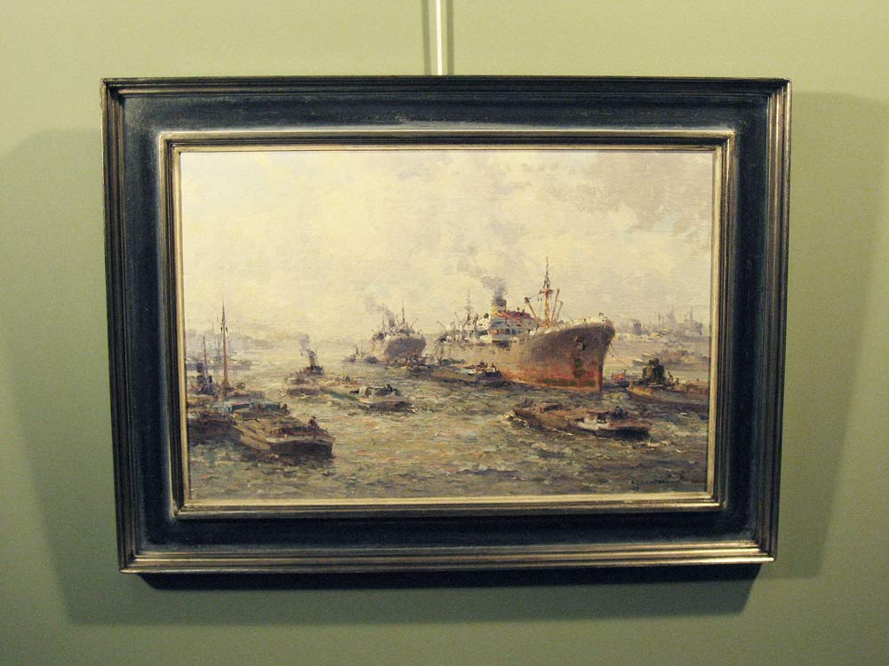 Havengezicht Rotterdam, olieverf op linnen, afmeting inclusief lijst 58x78cm