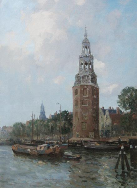 Stadsgezicht Amsterdam met de Montelbaantoren, olieverf op linnen, afmeting 50x70cm doekmaat