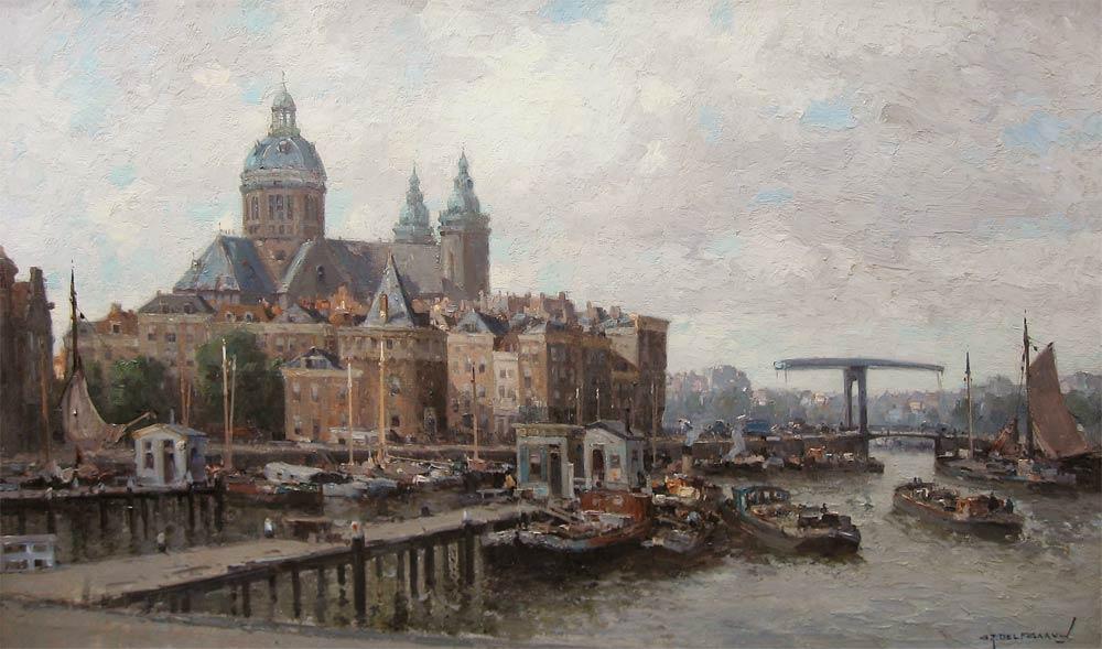 Stadsgezicht van Amsterdam, afgebeeld op de cover van de monografie van G.J. Delfgaauw, olieverf op linnen, afmeting 60x100cm doekmaat