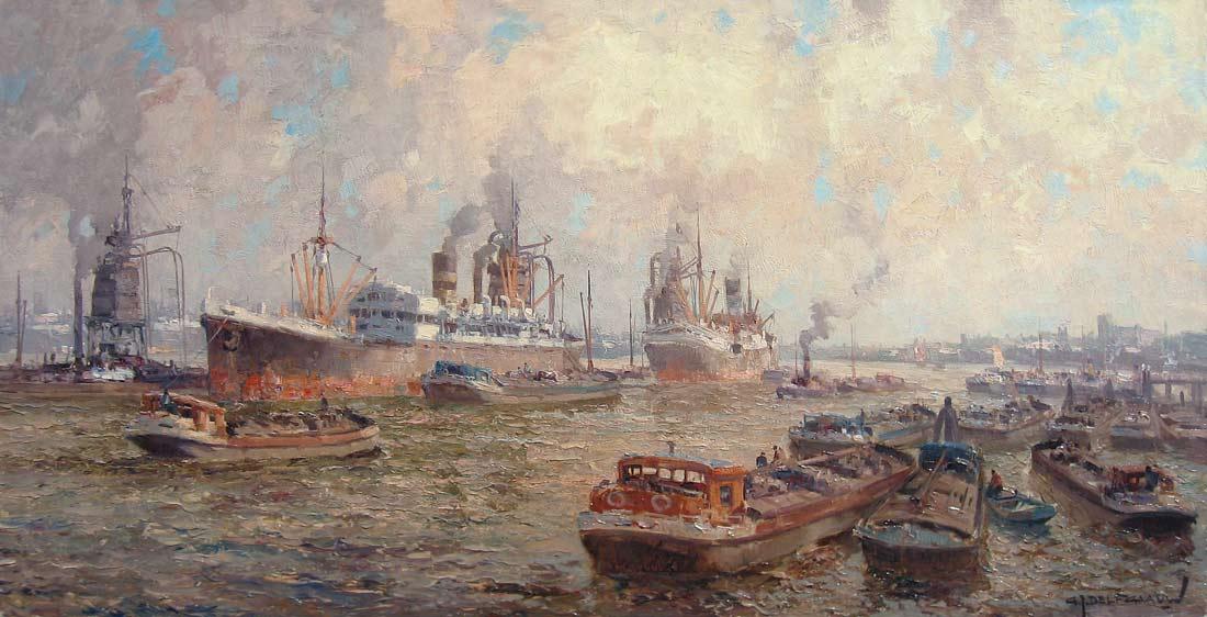 Havengezicht Rotterdam, olieverf op linnen, afmeting 60x120cm doekmaat