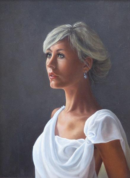 Portret van een jonge vrouw, olieverf op paneel, afmeting 18x24cm paneelmaat