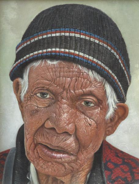 Portret van een oude man, olieverf op linnen, afmeting 18x24cm doekmaat
