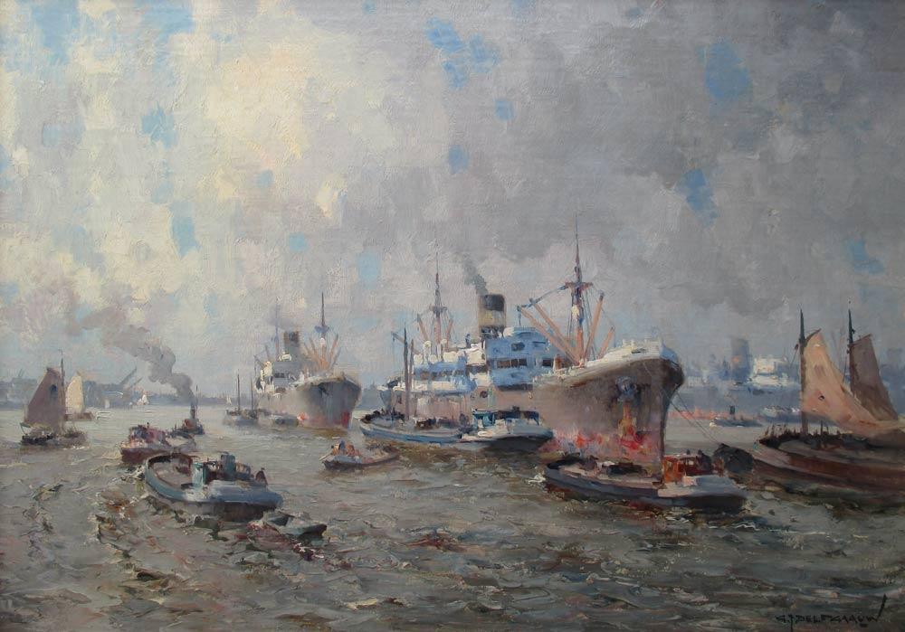 Havengezicht Rotterdam, olieverf op linnen, afmeting 50x70cm doekmaat