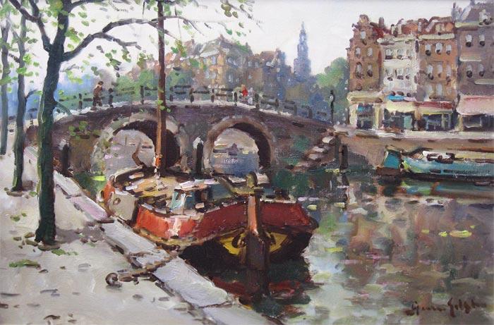 Gilst, Arnoud van   Den Haag 1898 - 1982 Bennebroek   Arnoud Van Gilst was schilder en tekenaar van landschappen, boerderijen, bossages, etc. Hij was leerling van de Academie v. B.K. te Den Haag, waar hij eerst begon als beeldhouwer. Na 1923 is hij gaan schilderen. Arnoud Van Gilst woonde en werkte tot 1937 in Den Haag en daarna in Haarlem.   Van Gilst schilderde in een naturalistische-impressionistische stijl. Hij signeerde zijn werk ook vaak onder de meisjesnaam van zijn moeder A. Jonstra.   Arnoud van Gilst legde zich vooral toe op Hollandse landschappen, stads-en duingezichten, zeeën en paarden. Onder de naam A. Jonstra schilderde hij zeilende schepen op de Friese meren. Van Gilst schilderde in een naturalistische-impressionistische stijl. Veel van zijn werk, vooral de landschappen, doen sterk denken aan dat van Cor Noltee. Van Gilst was een echte buitenschilder. Hij wilde perse geïnspireerd raken door de omgeving en hij toog het liefst naar een afgelegen plek waar niet elk moment iemand kon opduiken die over zijn schouders meekeek. Het liefst nestelde Van Gilst zich aan een slootkant en schilderde hij de aan de overkant gelegen velden, die hij eerst goed herkenbaar en gedetailleerd op doek bracht en later bij de uitwerking weer wat liet vervagen. Hij hield er een zeer precieze, bijna topografische interpretatie van het landschap op na, compleet met rietschelven, hooibergen schuurtjes en stallen. Met zijn wat donzige toets benadert Van Gilst heel dicht de aparte sfeer die op het land aanwezig is op windstille dagen, als de lucht gesluierd is.   Mogelijk heeft Arnoud van Gilst geschilderd onder pseudoniem M Ottee. Hierover zijn geen eensluidende verklaringen te krijgen. Enkele jaren geleden veilde Christies Amsterdam een fors werk met voerlieden en werkpaarden op een kade, gesigneerd M Ottee. In de catalogus werd vermeld dat het hier mogelijk om een pseudoniem voor Arnoud van Gilst zou gaan.   Uit het Kunst & Antiek Journaal van juni/juli 2005, artikel van de hee