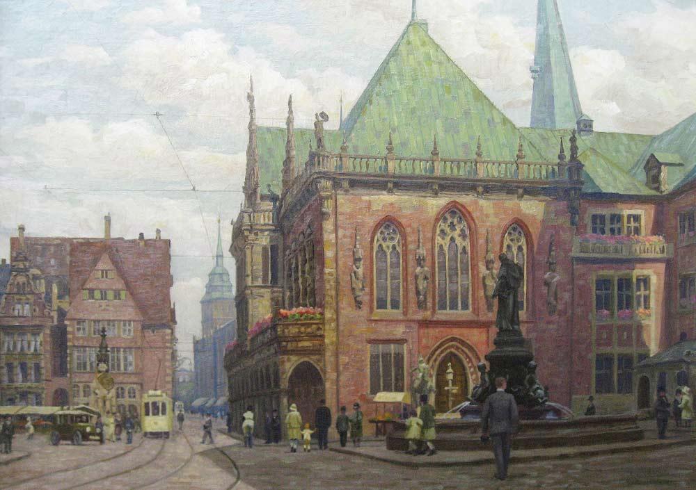 Stadsgezicht van Bremen, olieverf op linnen, afmeting 70x100cm doekmaat