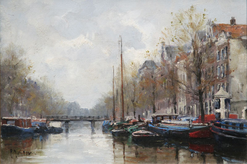 Frits Goosen born in Hilversum, Holland in 1943. Artist in oil and watercolours and a member of the Royal Society of Marine Artists. He is known for maritime pieces based around the coast of Holland and his typical Dutch landscapes.