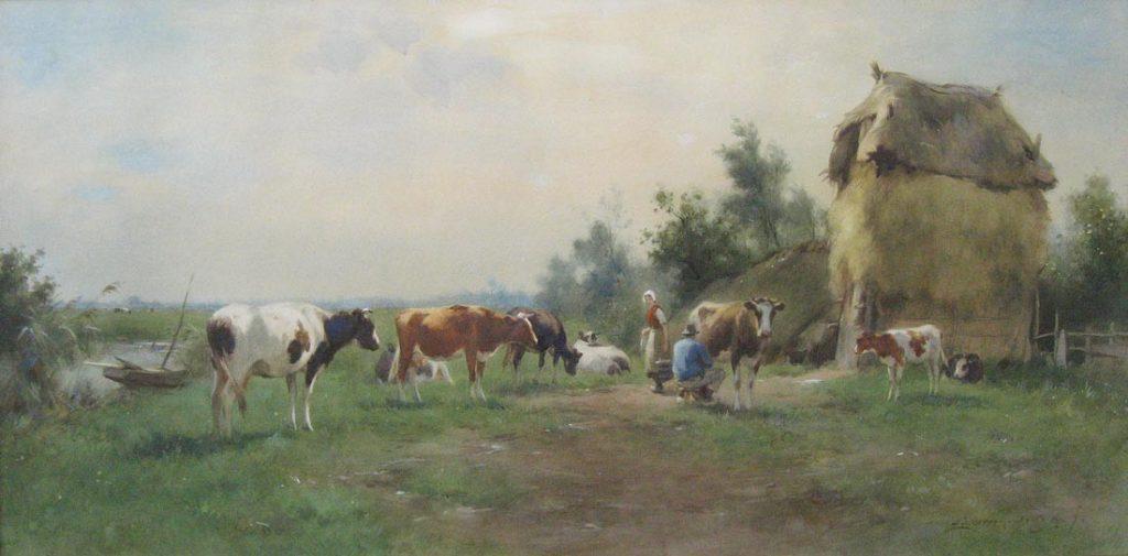Boerenerf, afgebeeld op pagina 83 in de monografie van A.J.Groenewegen, aquarel op papier, afmeting 55x109cm beeldmaat