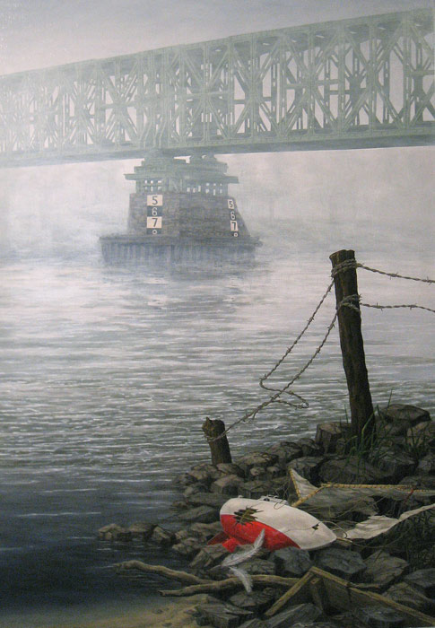Speelboot aan de oever, olieverf op paneel, afmeting 80x120cm paneelmaat