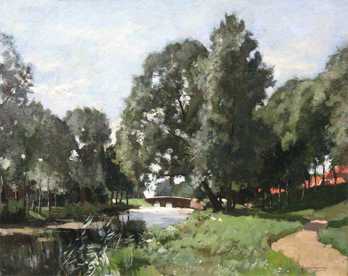 Vuuren, Jan van Vuuren geboren te Molenaarsgraaf (Z.H.) op 26 januari 1871 en overleden te Ermelo op 2 augustus 1941.  Al op jonge leeftijd werd zijn tekentalent herkend door een aantal plaatselijke notabelen die ervoor zorgden dat de jonge Van Vuuren in de leer kon bij R. Larij. Later volgde hij ook lessen aan de Haagse Academie voor Beeldende Kunsten en bij de Amsterdamse schilder G.W. Dijsselhof. In 1896 wordt hij toegelaten tot het gerenommeerde Schilderkunstig Genootschap Pulchri-Studio te Den Haag.   In deze jaren trok hij regelmatig met Haagse schilders richting Elspeet waar zij het Veluwse landschap vastlegden. Tijdens een van deze periodes op de Veluwe ontmoette hij de Elburgse onderwijzeres Anna Margaretha Heijman met wie hij in 1900 trouwde. Samen kregen zij vier kinderen. In deze jaren ging het Jan van Vuuren voor de wind. Zijn schilderijen vonden gretig aftrek. Vanaf de vroege jaren twintig keerde het tij echter voor het gezin Van Vuuren: er waren gezondheids- en financiële zorgen die aanhielden tot aan de dood van de schilder in 1941.  Schilder van de Veluwe Alle bronnen over Jan van Vuuren vermelden dat hij dag in dag uit buiten te vinden was met schetsboek en/of schildersezel om het Veluwse landschap vast te leggen. Onvermoeibaar schilderde hij boslandschappen, boslaantjes, watermolens, haventjes en straatjes in plaatsen als Hattem, Harderwijk, Nunspeet en Elburg. Altijd in de voor hem kenmerkende realistische stijl waaraan hij zijn hele carrière trouw is gebleven, ook toen de belangstelling vanuit de kunstwereld daardoor minder werd.