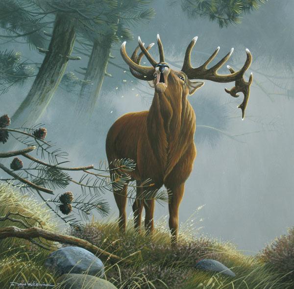 Hert, gouache op schilderkarton, afmeting 40x40cm beeldmaat