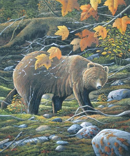 Gryzzlybeer, gouache op schilderkarton, afmeting 44x54cm beeldmaat