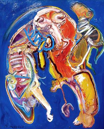 Wierik, Jan te Wierik is geboren te Hengelo op 17 maart 1954. Jan gebruikt doorgaans voor zijn werk diverse materialen. Werkt op alle ondergronden die hij daarvoor geschikt acht. Olieverf, acrylaten, pigmenten en lakacryl kan hij afzonderijk gebruiken, maar een combinatie hiervan, waardoor de meest bijzondere effecten optreden, zal hij niet schuwen.  Hij denkt niet na en gaat terug naar het kind zijn en brengt op een zodanige speelse wijze een compositie tot stand die abstrakt kan zijn maar ook figuren, fabeldieren en landschappen op kunnen roepen die uitsluitend het denkvermogen van een kind kan evenaren.  Kort samengevat Jan is een kunstenaar die al zijn oergedachten van binnen uit vorm geeft op het doek. Uit zijn werk spreekt dan ook beklemming, hilariteit, tragiek, liefde en verdriet maar nooit berusting. Hij leeft voor de kunst en een bepaalde drijfveer in hem draagt ertoe bij dat alles wat hij voelt, meemaakt, ondervindt en ziet in zijn eigen vorm een beeld moet geven.  Jan te Wierik exposeerde ondermeer in Amsterdam, Deventer, Groningen, Laren (Singermuseum), Enschede (Rijksmuseum Twente), Bocholt (Duitsland), Epe (Duitsland), NewYork (VS) etc. Jan te Wierik is op 24 augustus 2002 helaas overleden.