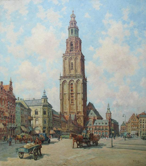 Martinietoren in Groningen, Schaap, H. Schaap is geboren te Delft op 28.12.1878 en overleden te  Rotterdam op 16.03.1955     Hendrik Schaap woonde en werkte in Delft tot 1911, daarna in Rotterdam.  Leerling van B.A. Bongers en Fr. Helfferich te Delft, daarna van de Technische  Hogeschool aldaar o.l.v. A.F. Gips en Th. K. L. Sluyterman, vervolgens te Parijs  leerling van de École des Arts Décoratifs.  Schilderde en tekende(was ook leraar Middelbaar Onderwijs tekenen in de  Maasstad) stadsgezichten(markten met figuren, oude straatjes met mensen),  figuren enz. Gaf les aan J. Heesterman, L. Hoenevelt, J.H. Schaap en H.  Schallenberg. Was lid van de Kunstkring 'Delft' en de Kunst Sociëteit te  Rotterdam. Tekening(en) in Rijksprentenkabinet te Amsterdam