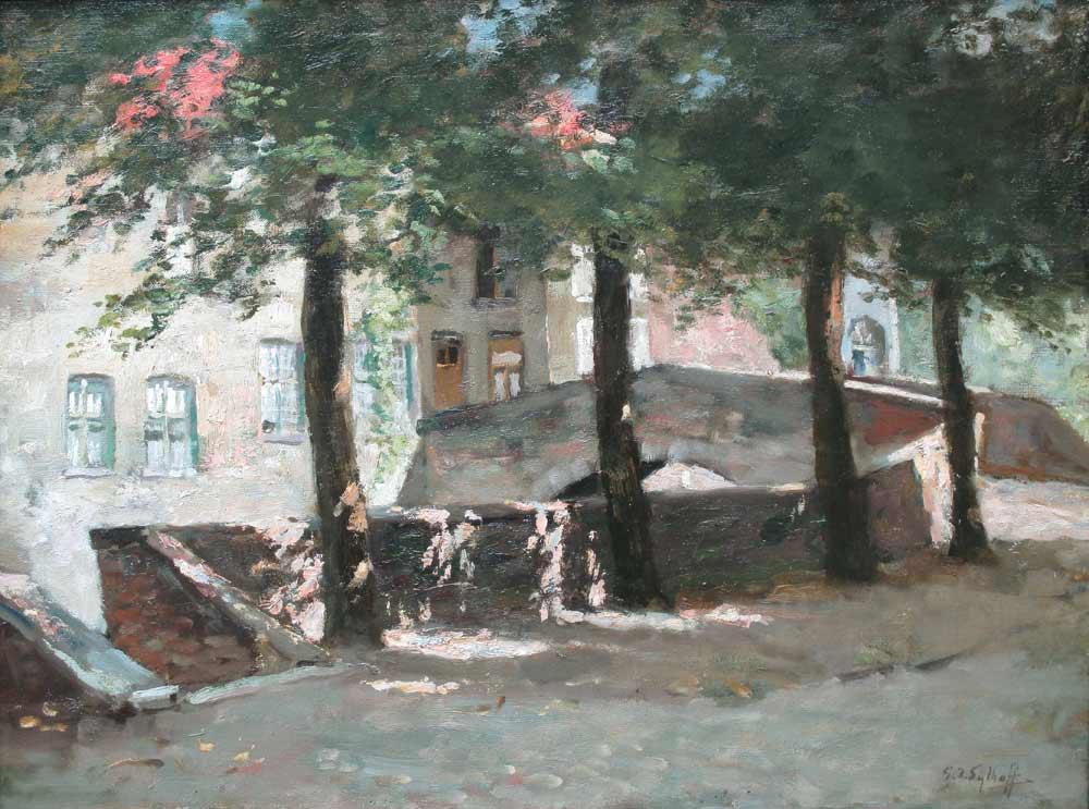 Brugge, Gijsbertus Jan Sijthoff werd op 6 augustus 1867 te Delft. Hij was leerling van de Academie van Beeldende Kunsten te Den Haag, daarna kreeg hij les van B.J. Blommers. Hij schilderde, aquarelleerde, tekende en lithografeerde portretten, in- en exterieurs, stadsgezichten en landschappen.   Sijthoff was lid van 'St.Lucas' en 'Pulchri', de Nederlandse Kunstkring en de vereniging van B.K. 'Laren-Blaricum'. Hij gaf les aan zijn vrouw Johanna Bastiana van Rijswijk, A.F.A.M. Hiel en Maria Ch. J. Sterre de Jong.   Tentoonstellingen: Amsterdam 1892, Den Haag 1893, Rotterdam 1894. Literatuur: Pieter A. Scheen 1750-1950 S.J. Mak van Waay 1870-1940 Haller   Sijthof overleed te Laren op 14 oktober 1949.