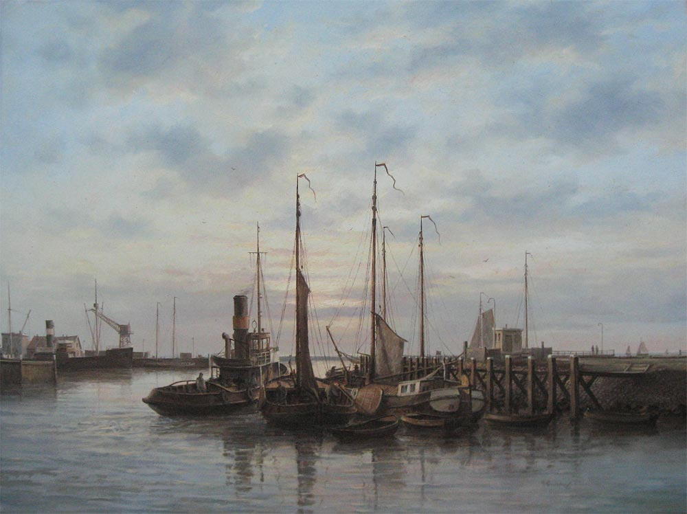 Peter Sterkenburg was born in 1955 in Harlingen. He is a very famous painter of harbourviews.