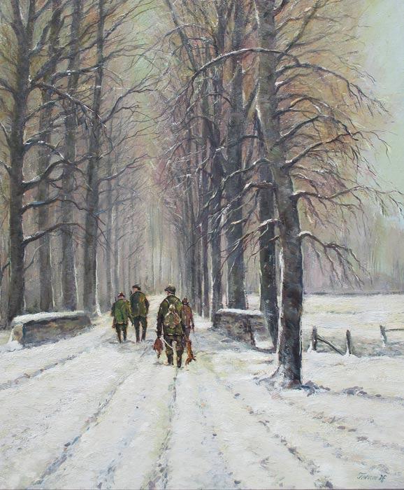 Hunting, Karl Terner is geboren in Düsseldorf (Gerresheim/ Niederrhein) in 1921 en is overleden in Düsseldorf in 1982. Hij was een figuur- en landschapschilder, maar zijn grote voorkeur ging uit naar het schilderen van jachttaferelen in de natuur. Hij maakte veel studiereizen door Europa. Hij studeerde aan de Kunstakademie in Weimar en heeft aansluitend les gehad van Josef Strahn en van Schmurr.