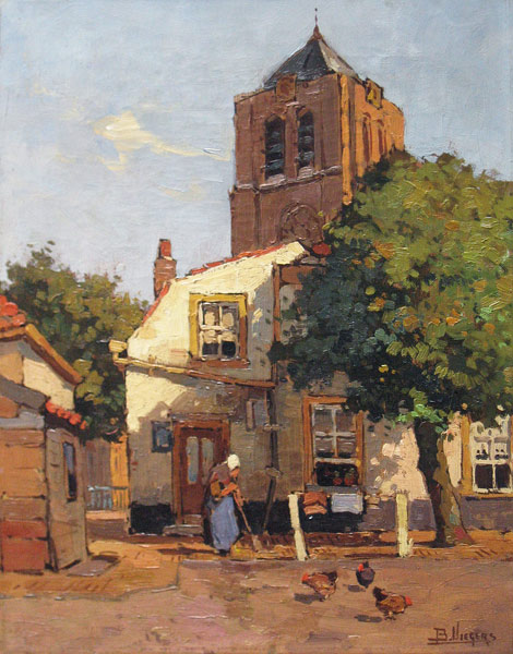Viegers, Ben Viegers was born1886, in The Hague, died 1947 in Nunspeet.  Painter of landscapes,landscape with figures,, waterscapes, urban landscapes  and harbourscenes. It wasonly in 1989 that the works of Viegers, a painter of typical Dutch scenes,  appeared in the auction rooms. In 2001 a retrospective of this output was held at  the Stedelijk Museum in Zwolle.