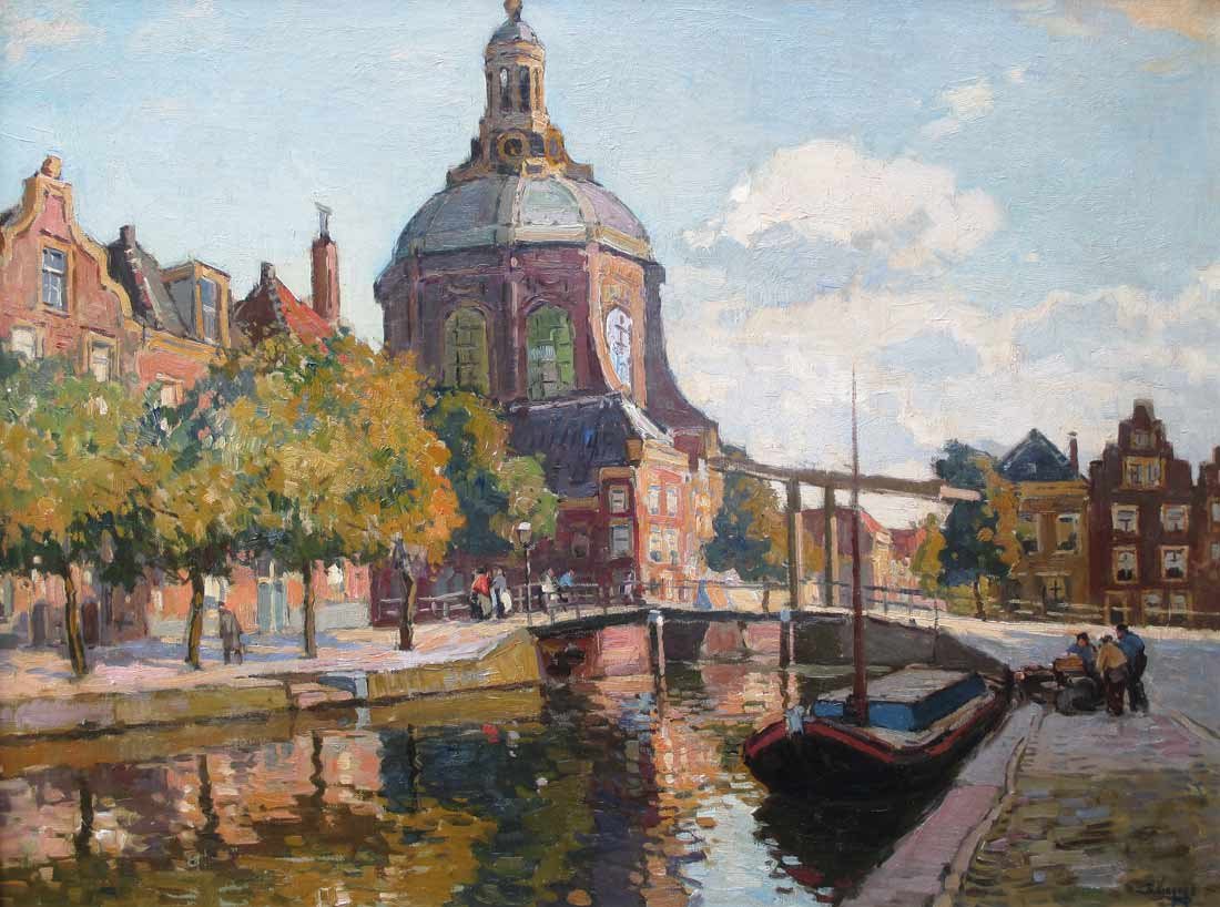 Cityview Leiden, Viegers, Ben Viegers was born1886, in The Hague, died 1947 in Nunspeet.  Painter of landscapes,landscape with figures,, waterscapes, urban landscapes  and harbourscenes. It wasonly in 1989 that the works of Viegers, a painter of typical Dutch scenes,  appeared in the auction rooms. In 2001 a retrospective of this output was held at  the Stedelijk Museum in Zwolle.