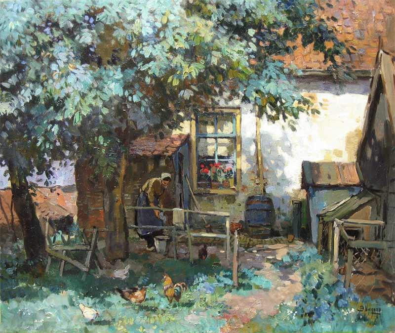 Viegers, Ben Viegers werd in 1886 in Den Haag geboren. Als belangrijke  stimulator van de jonge Ben Viegers om  het kunstenaarsschap te beoefenen,  fungeerde zijn grootvader van moederskant, grootvader Hulzing. Deze Haagse  koetsenbouwer legde de grondslag voor een kunstopvatting, die niet losgezien  kan worden van een solide ambachtelijke basis. Hier leerde hij niet alleen de  waardering voor het handwerk, maar hier leerde hij ook daadwerkelijk  tekenen, verf mengen, decoreren en andere vaardigheden, die later goed van  pas bleken te komen. Schilderde in een impressionistische stijl, landschappen,  stadsgezichten, zee- en havengezichten, zeegezichten en duinlandschappen,  stillevens en bloemen.   Ben Viegers was waarschijnlijk verder een autodidact. Nergens zijn concrete  gegevens te vinden, die op een academische scholing wijzen. Uit zijn vroege  werk spreken de wil en de vastberadenheid om de kneepjes van het  veeleisende metier onder de knie te krijgen. Dat hem dat uiteindelijk ook lukte  is op te maken uit het feit dat hij als volwaardig lid van de Haagse Kunstkring  werd toegelaten. Hier onderhield hij contacten met later zeer bekend  geworden kunstnaars, zoals; Jan Toorop, Aris Knikker en Jan Knikker. Het  meest hecht was zijn relatie echter met Charles Dankmeijer (1861-1923).   Na de eerste Haagse jaren en vele omzwervingen, vestigde Ben Viegers zich  in Nunspeet. Daar betrok hij een verwaarloosd pand aan de Brinkersweg, dat  hij eigenhandig opknapte. Zijn vader verhuisde mee naar de Veluwe en bleef  tot zijn dood bij zijn zoon wonen. Ondanks de crisis en de oorlog was dit voor  Viegers de periode waarin hij vrij kon experimenteren. In Nuspeet maakte  Viegers veel vrienden. Zijn joviale aard viel vooral goed bij collega jaap  Hiddink. De band met Jos Lussenburg was minder sterk, omdat  Ben Viegers  deze nestor van de Nunspeetse schilders enigszins zelfingenomen vond.   Veel meer nog dan in zijn Haagse jaren, manifesteerde Viegers zich in zijn  Veluwse period