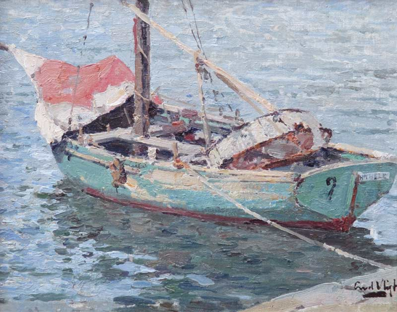 Vissersbootje, olieverf op linnen bevestigd op paneel, afmeting 34x30cm paneelmaat