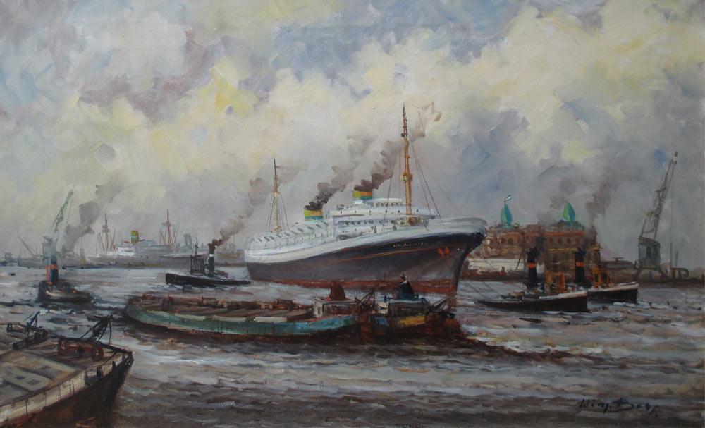 Havengezicht Rotterdam met de Holland Amerika Lijn, olieverf op linnen, afmeting 60x100cm doekmaat