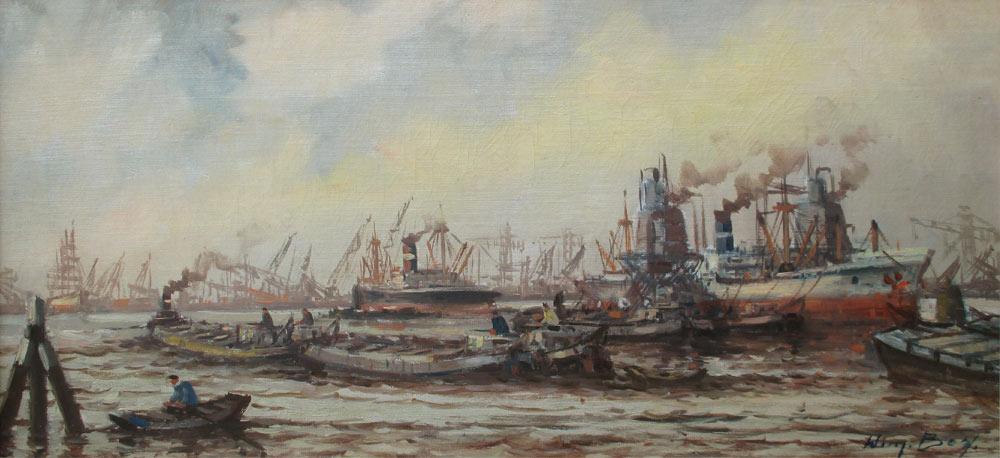 Havengezicht Rotterdam, olieverf op linnen, afmeting 40x80cm doekmaat