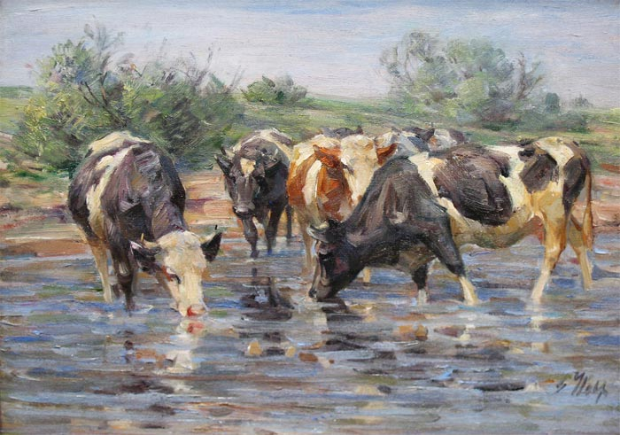 Cows by the waterside (G. Wolf)