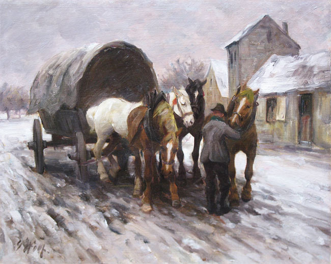Georg Wolf, was a landscape, animal, genre, and military painter. He attended  artist's school in Straßbourg 1899 - 1901, did his military service 1901 - 1903 in  the Bavarian 2nd Infantry Regiment