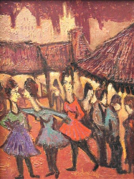"""Wolff, C. de Wolff, Cor de Wolff is geboren in Middelburg in 1889 en is overleden te Amsterdam in 1963. De schilder/graficus Cor de Wolff begon zijn artistieke loopbaan als kunstnijveraar, voornamelijk maakte hij batiks, houtsneden en zeer fraaie etsen die veel gevraagd zijn. Op latere leeftijd is hij begonnen te schilderen. Vanaf de veertiger jaren heeft hij enkele landschappen gemaakt op een impressionistische wijze. Later werd hij vernieuwend en volgde zijn eigen weg. Zijn honger naar beweging en kleur uitte hij daarna in vitale schilderijen vol fantasie, bevolkt door wonderlijk gevormde figuren, uitbundig in hen gebaren en geschilderd in bonte, vlot aangebrachte kleuren. Kroegjes, volkspret, kermissen en markten waren zijn favoriete onderwerpen. In zijn schilderijen is tegelijkertijd iets vrolijks en caricaturaals. Zijn uitspraak """"Het liefst zou ik met een poppenkast er op uittrekken om aan de burgers, boeren en buitenlui te laten zien, hoe raar en hoe vermakelijk het leven is"""" is voor hem dan ook van toepassing. Veel van zijn werk berust bij het Centraal Museum in Utrecht, maar vooral bij particuliere verzamelaars. Heeft ook veel geëxposeerd in het stedelijk museum te Amsterdam en hij was lid van de """"Onafhankelijken  Amsterdam""""."""
