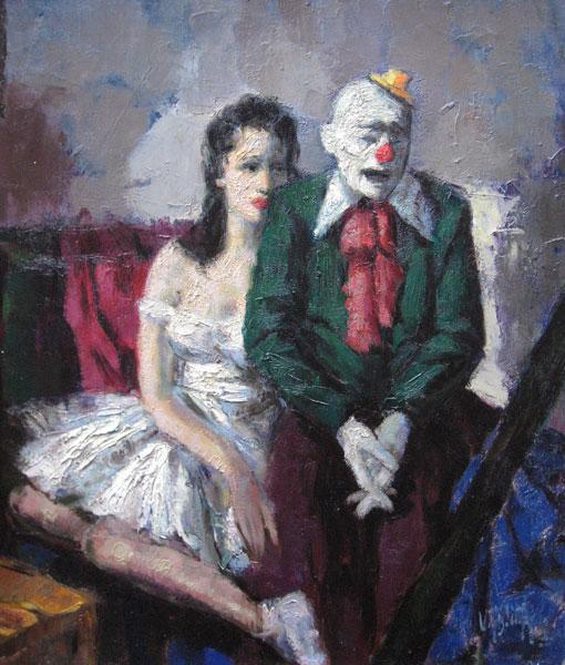 Clown met ballerina, olieverf op linnen, afmeting 65x80cm doekmaat
