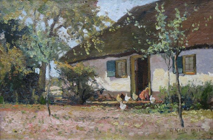 Keus, Adriaan is geboren op 7 september 1875 te Rotterdam en overleden op 15 mei 1955 te Soest. Hij woonde en werkte in Den Haag tot 1910, Putten (Gld.) tot 1916, Baarn tot 1920, van 1920 af te Soest. Leerling van de Akademie voor B.K. in Den Haag (1898-1899), raadgevingen van H.W.Mesdag. Hij schilderde, tekende en etste landschappen, boerenwoningen, bossen en bollenvelden. Was lid van 'Arti et Amicitiae' te Amsterdam. Tentoonstellingen Rotterdam1902 en Amsterdam 1903. Adriaan Keus wordt op 7 september 1875 te Rotterdam geboren als zoon van Dirk Leendert Marie Eliza Keus en Klara Cornelia van Traa. Zijn vader is luitenant-terzee. Als Adriaan drie jaar is vertrekt het gezin voor drie jaar naar Den Helder. In 1885 terug naar Rotterdam. Daar wonen zij tot 1889. De oudste broer van Adriaan volgt een opleiding als adelborst en vader Keus heeft stille hoop dat Adriaan die opleiding ook wil gaan volgen. Als Adriaan 14 jaar oud is gaat hij naar Oosterhout voor een drie jaar internaats-HBS-opleiding. Hij slaagt in 1892. Terug in Rotterdam moet er beslist worden over de verdere studie van Adriaan. Een opleiding tot adelborst wordt het niet. Omdat Adriaan grote belangstelling heeft voor de natuur, wordt besloten dat hij in Leiden bij de Rijksacademietuin een opleiding voor tuinleiders gaat volgen. Deze cursus volgt hij anderhalf jaar , dan verhuist hij naar Londen voor een studie botanie. In zijn vrije tijd bezocht hij de Londense museums en in de stilte van deze zalen ontwaakte in hem steeds meer het verlangen tot tekenen van de natuur.Ook de studie botanie heeft hem steeds meer in deze richting gestuurd. Terug uit Engeland kiest Adriaan Keus definitief voor de kunst. Van 1896 tot 1899 studeert hij aan de Academie van Beeldende Kunst te Den Haag. Hij behaalt de acte van bekwaamheid voor Huis-en Schoolonderwijs in het Handteekenen. Na de academie ontwikkelt hij zich verder als landschapschilder. Hij gaat vriendschappelijk om met Bernard Schregel en hij krijgt raadgevingen van 