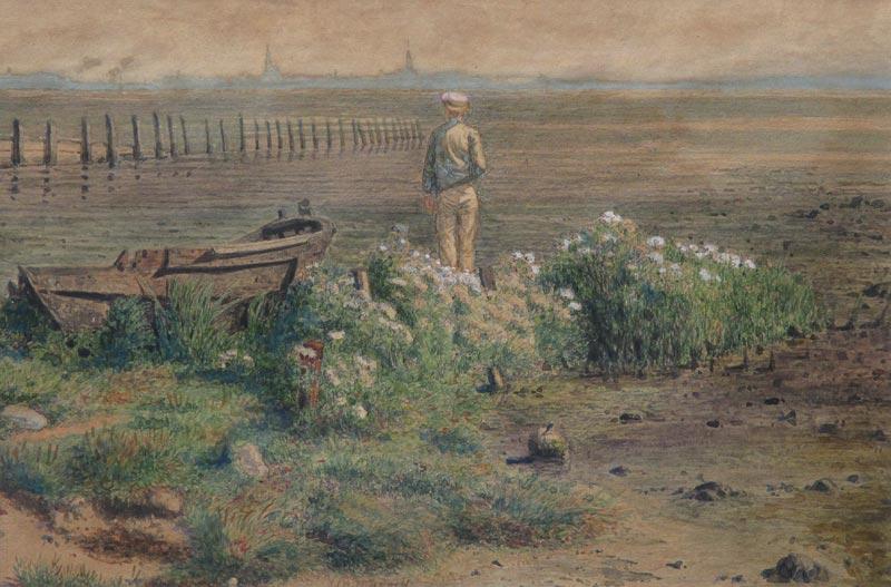 Landschap, aquarel op papier, afmeting 15x22cm beeldmaat