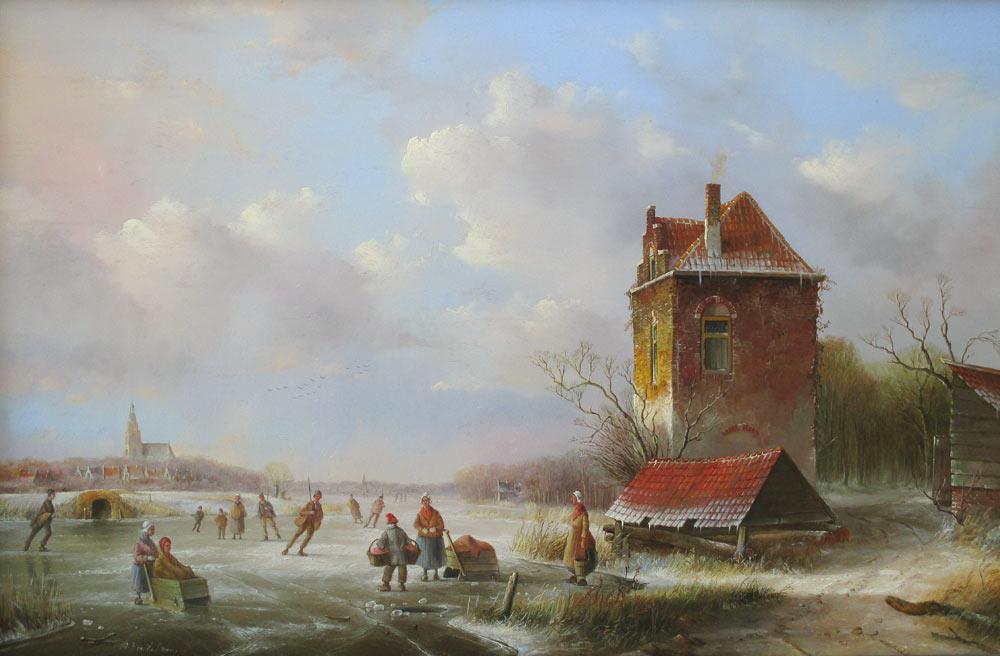 Winterlandschap, olieverf op paneel, afmeting 40x60cm