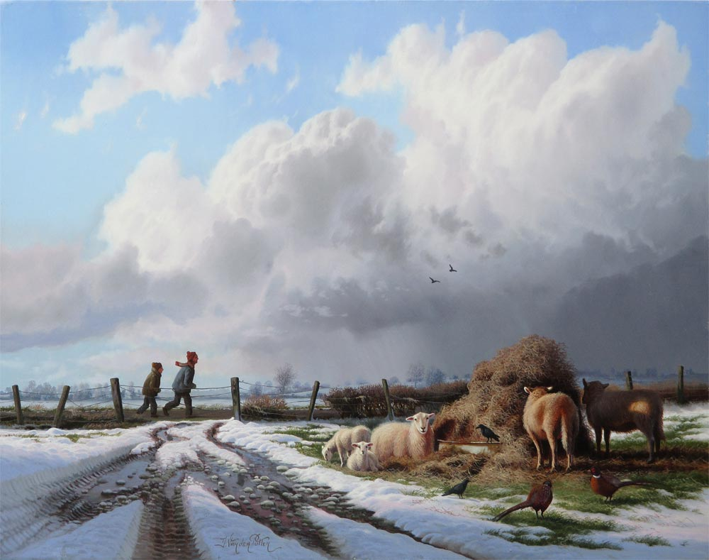 Winterlandscape with animals, size 28,5x35cm panel