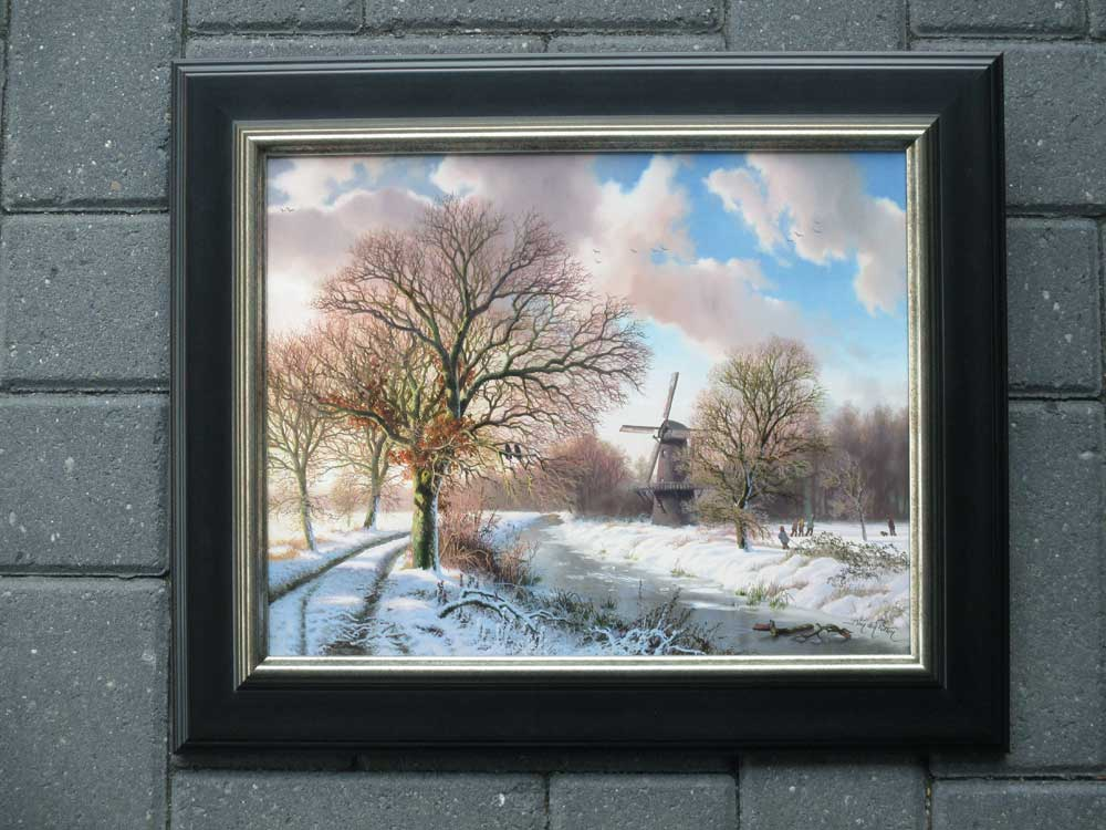 Winterlandscape, oil on panel, size including frame 40x47cm