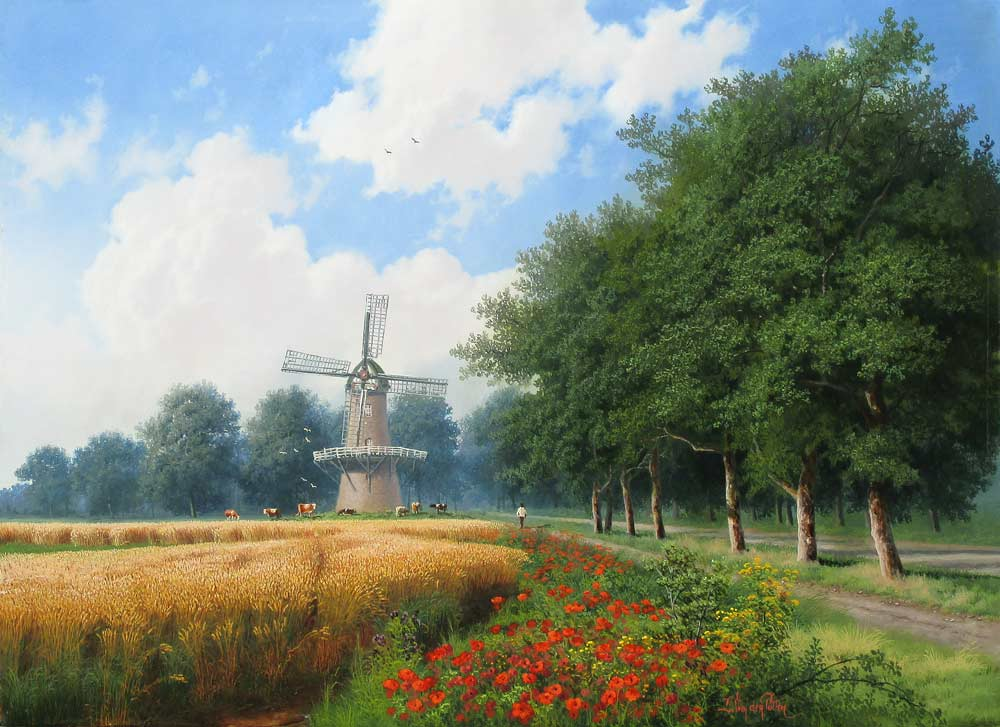 Daniel Van der Putten was born in a small farming village near Leyden in Holland. Initially he worked for his father in the family horticulture business, but found that his desire to paint was too strong to ignore. This desire and ability, no doubt, was inherited from his mother and also from his aunt who was a professional portrait artist exhibiting mainly in Holland and America. Daniel married his Scottish wife and settled in Scotland. They worked together from the start and researched and studied various techniques of painting, primarily those of the Great Dutch Masters, giving attention to observing the natural landscape wherever they travelled. Daniel was particularly inspired by the British landscape and moved to England to become a full-time painter. Daniel's paintings depict the vast array of colour, light and shadow which appear in nature and reveal a unique style all of his own. As an artist of international reputation, his works have been exhibited at The Royal Institute of Oil Painters, London, Scotland and one-man exhibitions in England, Canada, Taiwan and the U.S.A.