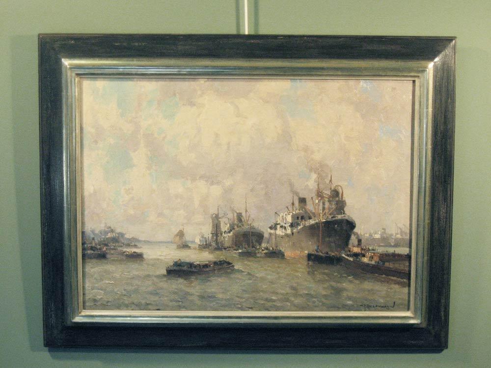 Havengezicht Rotterdam, olieverf op linnen, afmeting incl. bladgouden lijst 70x90cm