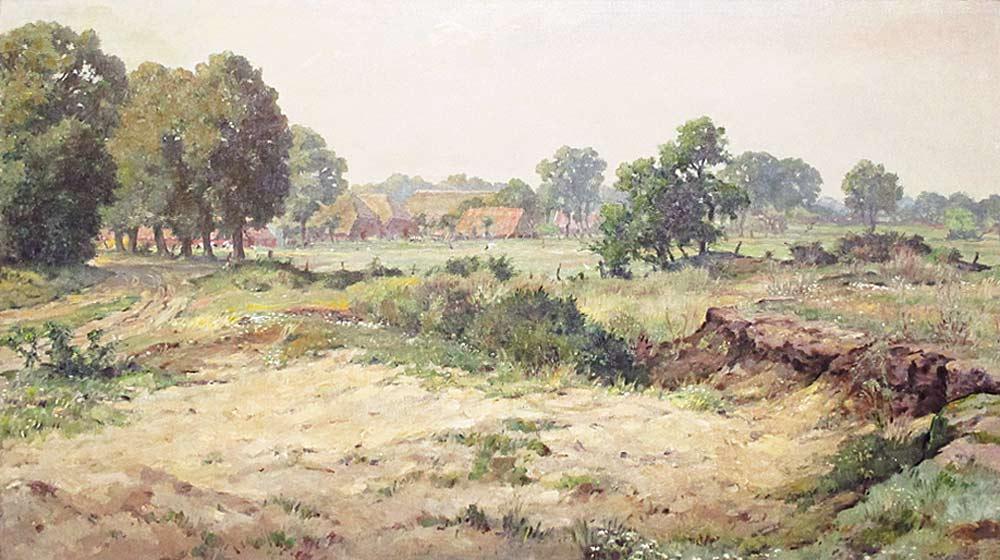 """Landscape Anloo, Musch, Evert Musch  Groningen 16.03.1918 - 2007     Toen men na de Tweede Wereldoorlog  met betrekking tot de landinrichting uitging van het idee om stroompjes en beekjes te kanaliseren, dreigde ook de Drentse Aa hieraan niet te ontkomen.  De stroom die eeuwenlang zijn weg door het dal had gevolgd, zou verworden tot een rechtlijnig kanaal.  Hevig geschrokken door dit bericht greep Evert Musch naar zijn penselen en schilderde in een breed panorama het landschap tussen Schipborg en Oudemolen, waardoor de rivier hevig meanderend zijn weg zocht en exposeerde dat rond 1950. Het was een protest tegen aantasting van een landschap waardoor hij, Groninger van huis uit, in hoge mate werd geïnspireerd.  In 1985 ging Musch, samen met andere Drentse kunstenaars, opnieuw op de barricaden staan voor het behoud van een waardevol landschap.  Het militaire gebied in de Schipborger Strubben zou platgewalst worden om zodoende beter tot oefenterrein te kunnen dienen.  Daarmee zouden vele grafheuvels,  standplaatsen van hunebedden en sporen van oude wegen verdwijnen.  Exposities van schilderijen en tekeningen van dit gebied, evenals andere manieren om de aandacht hierop te vestigen, hebben er misschien toch aan bijgedragen dat het plan niet doorging.  Heeft kunst invloed op politieke besluitvorming?  In ieder geval werden Strubben en bos gespaard en stroomt de Aa als vanouds door het Drentse land.  Na de HBS liet Evert Musch zich in 1936 inschrijven aan de Gemeentelijke Kunstnijverheidsschool, die later Academie Minerva zou gaan heten.  De aanpak van het kunstonderwijs was niet veel anders dan in de tijd van F.H.Bach.  Er werd veel naar de natuur gewerkt.  De leraren A.W.Kort en C.P. de Wit van wie Musch les kreeg, hielden zich verre van het expressionisme, dat door """"De Ploeg"""" zo enthousiast in huis was gehaald.  Breed, klassiek, grondig en ambachtelijk zijn begrippen die Musch nog altijd te binnen schiet als hij terugkijkt op zijn tijd aan de Minerva die hij in dankbare"""