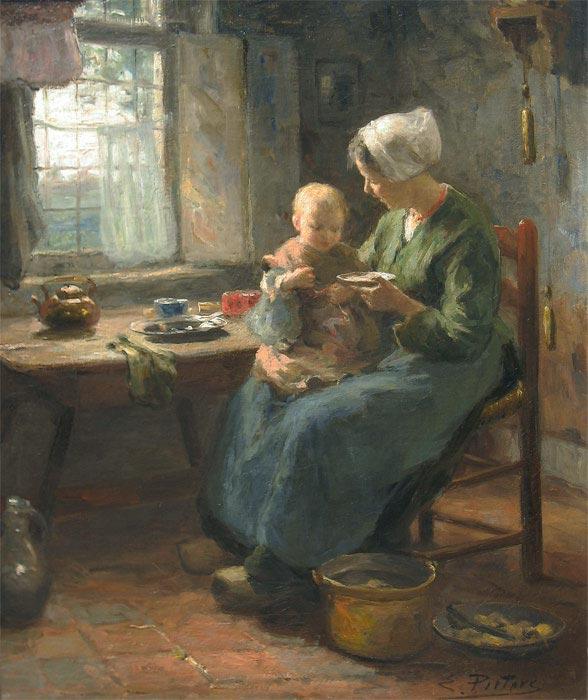 """Pieters, Evert Pieters is geboren te Amsterdam op 11.12.1856 en overleden te Laren op 17.02.1932.  Evert Pieters was van zijn twaalfde tot zijn negentiende jaar in de leer bij een huisschilder. Daarna bezocht hij de avondlessen aan de Academie in Antwerpen, terwijl hij overdag als decorateur werkte. Veel raadgevingen ontving hij van de landschapsschilder Theodoor Verstraete, die de kwaliteit van zijn werk had opgemerkt. Behalve in Antwerpen verbleef hij ook op andere plekken in Vlaanderen. Nadat hij in 1895 naar Nederland was teruggekeerd, woonde en werkte hij in vele plaatsen in het westen van het land. Pieters schilderde, tekende en etste weliswaar veel landschappen, maar zijn grootste bekendheid kreeg hij door zijn Larense interieurs en zijn strandgezichten met schelpenvissers. Zijn werken waren zeer gewild in Amerika. In 1910 bezocht Pieters dit werelddeel, waar hij als een bekend kunstenaar werd ingehaald. Dit vormde een groot contrast met Nederland, waar hij vrij onbekend is gebleven. Evert Pieters onderhield goede contacten met Alphonse Stengelin en Willy Sluiter. Het Drents Museum in Assen bezit een olieverfschilderij van een hunebed van zijn hand. Hij was lid van """"Pulchri Studio"""" in Den Haag en van """"Arti et Amicitiae"""" in Amsterdam. Hij overleed tijdens een taxirit van Baarn naar Laren. Musea; Singer Museum Laren, Rijksmuseum Dordrecht, Goois Museum Hilversum etc"""