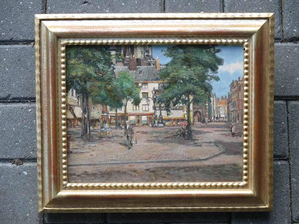 Stadsgezicht Nijmegen, olieverf op linnen bevestigd op paneel, afmeting inclusief lijst 34x40cm